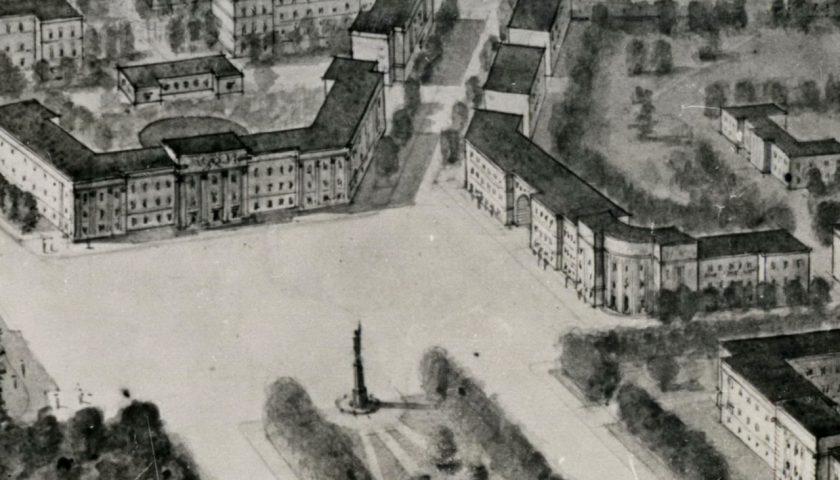 Фрагмент праекта Цэнтральнай плошчы з генплана Маладзечна 1947 года. Крыніца: БДАНТД