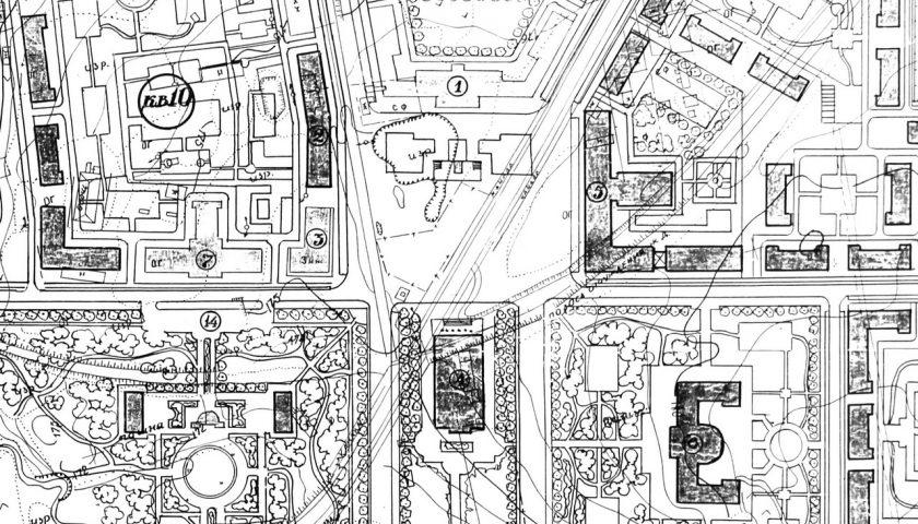 Фрагмент генплана Маладзечна 1956 года з забудовай Цэнтральнай плошчы. Крыніца: БДАНТД