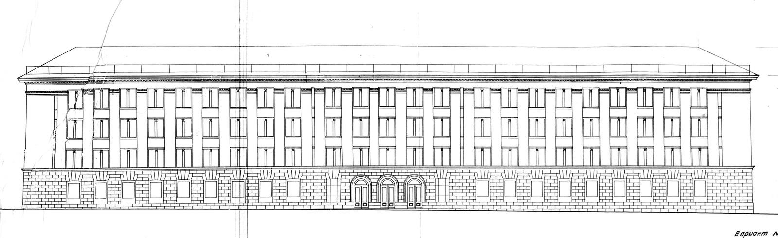 Праект будынка аблвыканкама 1956 года. Крыніца: БДАНТД.