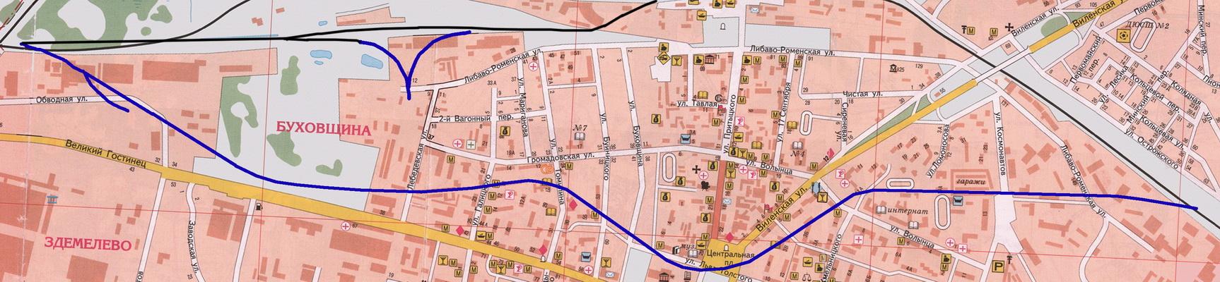 Лінія на сучаснай мапе горада
